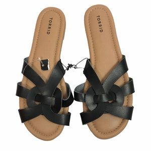 NWT Torrid 9 WIDE vegan leather sandals tan black